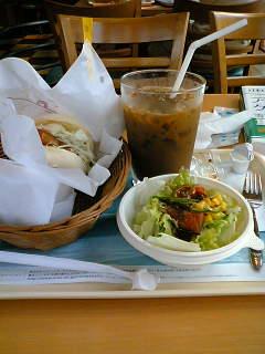 【写真】フィッシュマリネバーガー サラダセット + モスライスバーガー 海鮮かきあげ