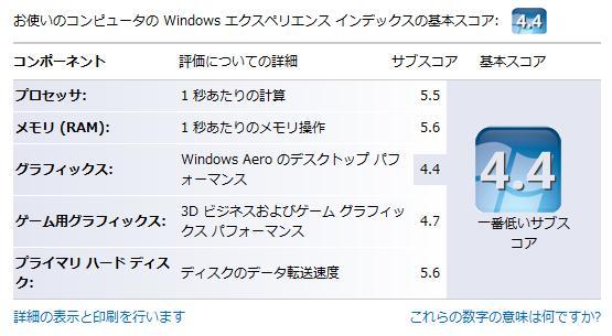 Windows エクスペリエンス インデックス:4.4