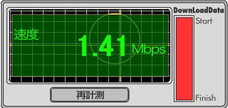 【スクリーンショット】goo スピードテストで下り平均1.41Mbpsを計測