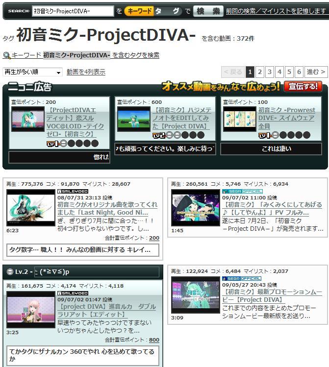 【スクリーンショット】広告やLvなどが並ぶタグ「初音ミク-ProjectDIVA-」検索結果画面