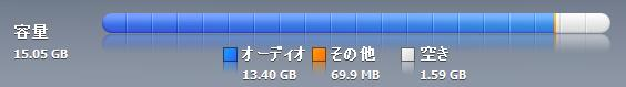 【スクリーンショット】チェックマークを外した楽曲が消されたぶんだけ、iPodの残り容量が増える