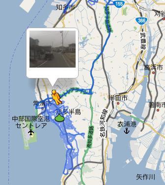【スクリーンショット】名古屋の南、知多半島エリア。セントレアこと中部国際空港の近くが撮影されてストリートビューで確認可能になっている。
