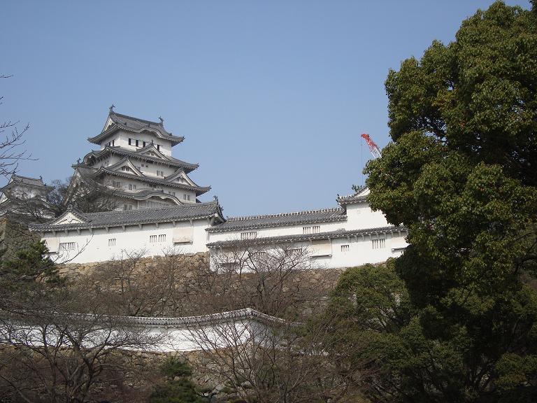 【写真】クレーンが端に見える姫路城天守閣