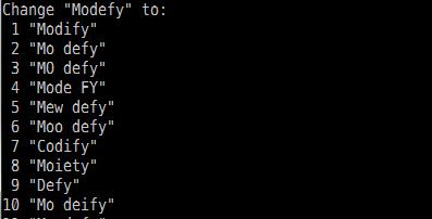 【スクリーンショット】Modefyの訂正候補