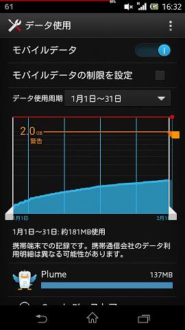 【スクリーンショット】Androidのデータ通信量確認ツール