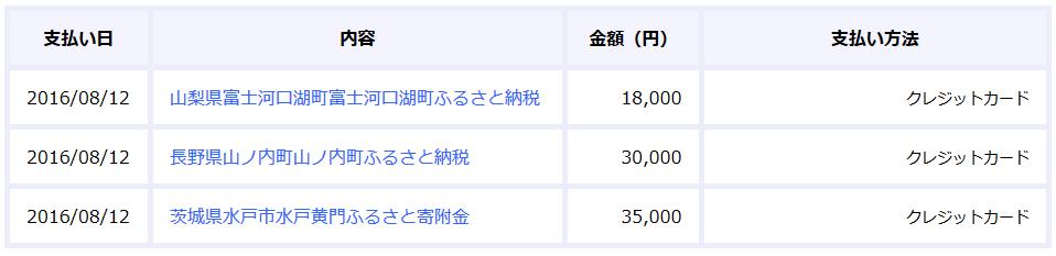 【スクリーンショット】カード決済履歴