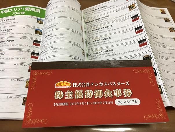 【写真】テンポスの優待券