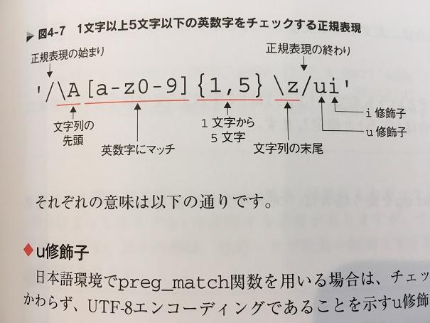 【画像引用】1文字以上5文字以下の英数字をチェックする正規表現(81ページより)