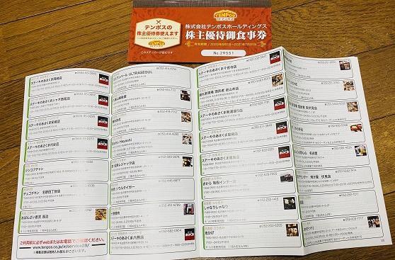 【写真】テンポスHDの食事優待券と利用可能店舗