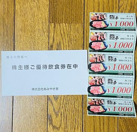 【写真】あみやき亭グループ食事券5,000円分